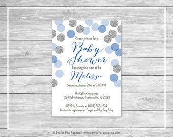 Blue and Silver Baby Shower Invitation - Printable Baby Shower Invitation - Blue and Silver Baby Shower - Baby Shower Invitation - SP124