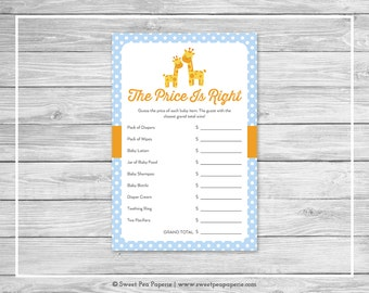 Giraffe Baby Shower Price Is Right Game - Printable Baby Shower Price Is Right Game - Blue Giraffe Baby Shower - Price Is Right - SP130