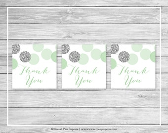 Mint and Silver Baby Shower Favor Thank You Tags - Printable Baby Shower Thank You Tags - Mint and Silver Baby Shower - Favor Tags - SP125
