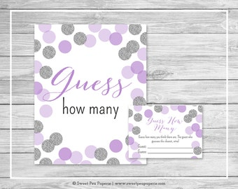Purple and Silver Baby Shower Guess How Many Game - Printable Baby Shower Guess How Many Game - Purple and Silver Baby Shower - SP126