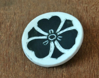 Porcelain Brooch, Wife Gift Brooch, Flower Brooch, Black & White Pin, Anniversary Gift, Gift for Her, Tiny Scarf Pin, Coin Shaped Pin