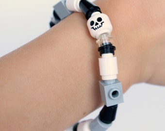 Skulls, Black, White and Grey -Bracelet made with LEGO® pieces -Bricks, Cones, Tubes, Studs and Heads - Jewelry made with LEGO® pieces