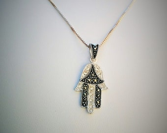 hamsa necklace sterling silver with svarovsky crystals  water proof