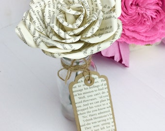Book page rose Harry Potter  with matching gift tag Teacher Gift Thank You Table Decoration Shelf Sitter Home Decor 1st Anniversary