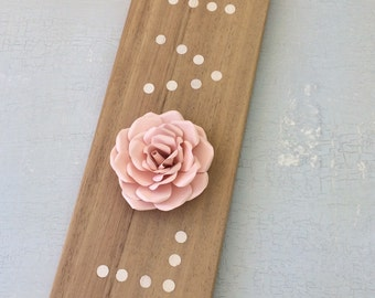 Love sign, Wooden Shabby Chic Rustic Love Sign, Wedding Decor, 3D Pale Peach Paperflower Decor Sign