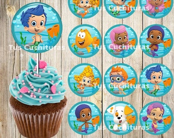 12 Bubble Guppies Cupcakes Toppers instant download, Printable Bubble Guppies party cupcakes Topper, Bubble Guppies, 2 INCHES