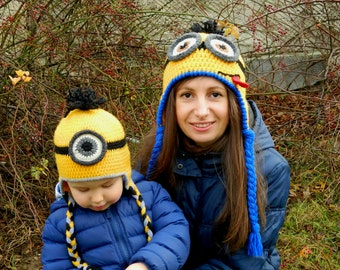 Crochet Minion hat Adult Teen Kids Child Toddler Baby Infant Newborn size One eye Two Eyes  Minion hat for boy girl Despicable me Minion hat