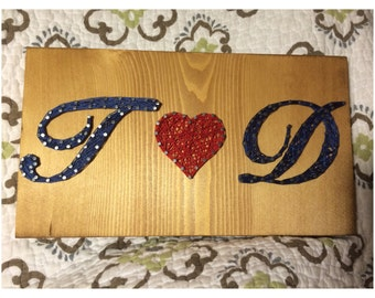 CUSTOM Initials/Love String Art, Wedding Gift, Anniversary Present, Wall Hanging, Valentine's Day, Christmas Gift, Christmas Present