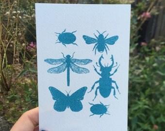Screen Printed Mini Beasts Postcard
