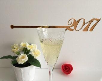 Happy New 2017 Year Swizzle Sticks, New Year's Eve, Gold Drink Stir Sticks, Cocktail Party, Champagne Stirrers, Cocktail Drink Stir, 01