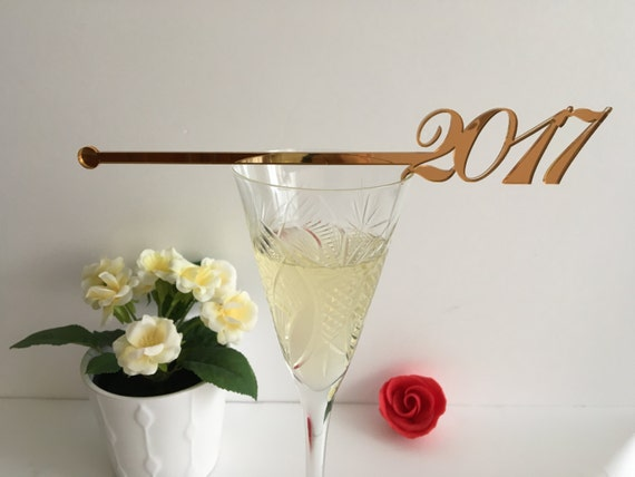 Happy New Year 2017 party Champagne Stirrers New year party New year decor Personalized holiday Swizzle sticks New Year's Eve Cocktail party