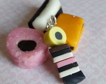 Liquorice allsorts charm, old fashioned sweet selection, retro British candy charm, planner, cute key chain dongle, lobster clasp fastening
