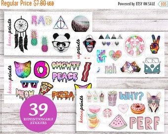20% OFF TUMBLR SET (4 Sheets) Stickers Perfect for Erin Condren Life Planner, Filofax, Plum Paper & other planner or scrapbooking