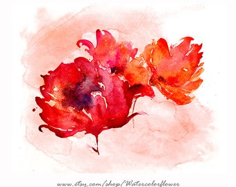 Watercolor Print Red Peony Bouquet, Giclee Art Print, Flower Wall Art, Watercolor Wall Decor - 25