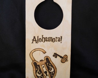 Alohamora and Colloportus Harry Potter Spell Doorhanger