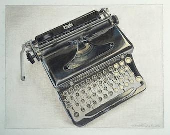 Vintage Royal Typewriter, Original Typewriter Print, Giclee Print, Typewriter Portrait | Photorealistic Print of Drawing