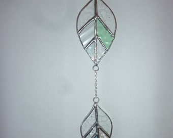 Stained glass Leaf suncatcher A