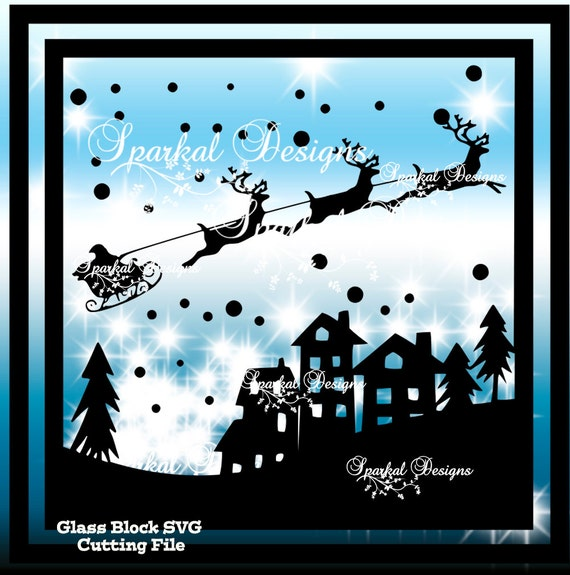 Christmas Svg File Glass Block Santa S Sleigh Cut Designs