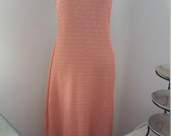 Peach Metallic Knit Maxi Dress Size 12