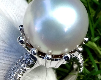 Pearl diamond ring, pearl ring vintage, pearl ring white gold, pearl ring gold, 18k gold ring , statement ring, white pearl ring,