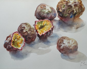 ORIGINAL WATERCOLOR on Arches paper, still life with passion fruit, figurative art painting