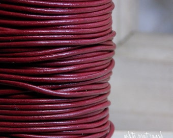 2 yards Corida Red 2mm Leather Cord Bracelet Supplies