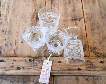 Decorated Glass Glasses-Vintage
