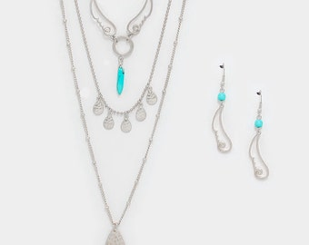 Triple Layered Necklace & Earring Set - Free Shipping!