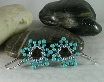 Turquoise Flower Earrings - Native American - Aztec - Egyptian