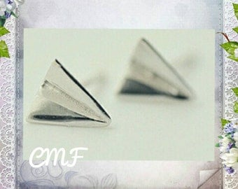Plane Earrings 925 Sterling Silver Stud Earrings Origami Earrings Paper Plane Earrings