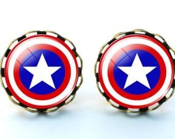 Captain America Shield Avengers Earrings - Captain America Symbol Stud Earrings
