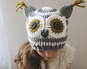 SALE-Crochet Owl Hat//Beanie//Gender Neutral//Childrens Beanie//Fall Hat//Cozy Owl
