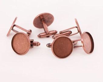50x Antique Copper Cufflink Setting Blanks Fits 18mm Cabochon