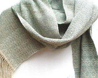 Sea Grass Green Silk and Linen Scarf, Handwoven in Sea Grass Green, Ivory and Natural