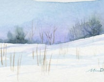 New England Snow landscape Original Mini # 1 watercolor painting framed and matted 8 x 8 inches