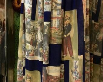 1980's translucent long skirt, nice pattern. Size S.