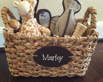 Pet toy basket personalized