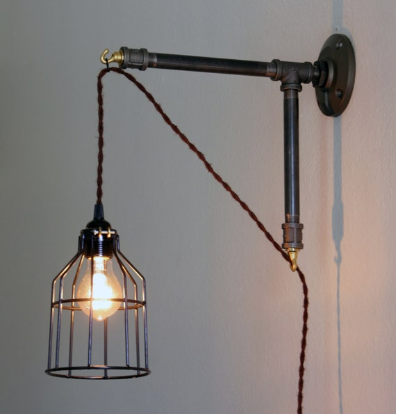 Industrial Style Wall Sconce Iron Pipe Bracket By Dancingapple