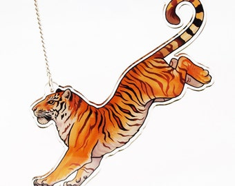 Arcylic Leaping Tiger Necklace