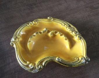 Beautiful ashtray, unique vintage ashtray, yellow ashtray, yellow glaze ceramic ashtray,I