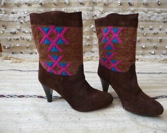 unique kilim high heel boots