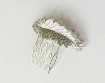 Silver Leaf Hair Comb bridal Hair Comb Leaf Head comb Wedding Hair Accessory Woodland Hair Accessory Silver Leaf Hair Pin