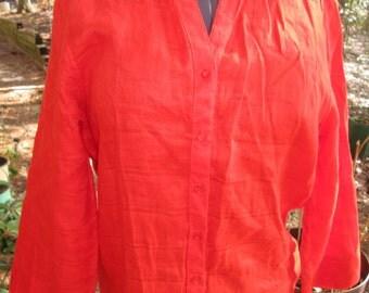 Bright orange linen V neck front close blouse. Sag Harbor label Size M. Like new