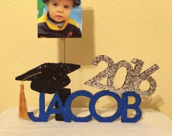 Personalized Graduation Centerpiece, Keepsake, & Photo Holder/Balloon Weight (5 Letters)