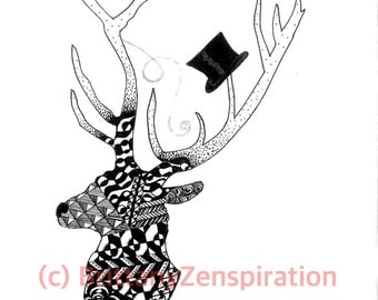 Black and White Dapper Deer Zendoodle (Ink Drawing) Zentangle Inspired Printable Art