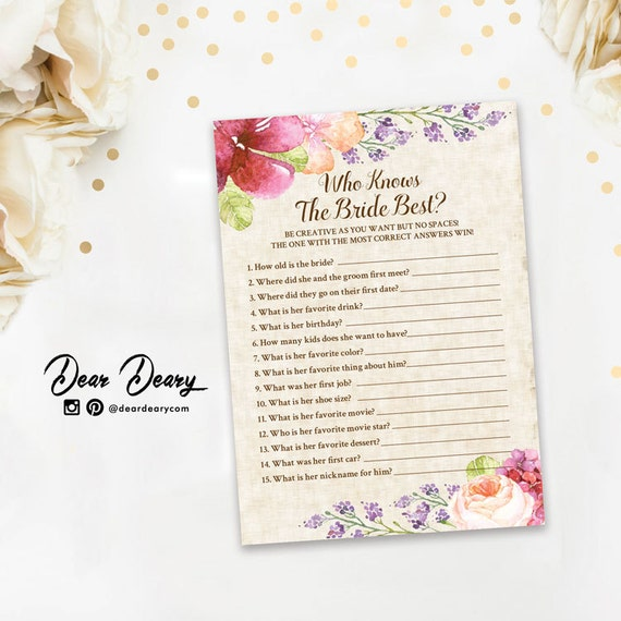 Rustic Watercolor Floral Who Knows The Bride Best By Deardeary
