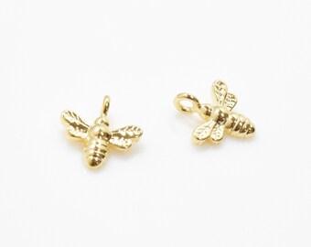 Bee Pendant . Honeybee Pendant . Tiny Bee Charm . 16K Polished Gold Plated over Brass - 2pcs / IA0168-PG