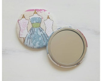 Fabric covered hand mirror, compact mirror, gifts for her, party favour