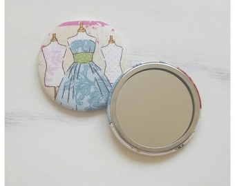 SALE, Fabric covered hand mirror, compact mirror, gifts for her, party favour, Stocking filler, Secret santa gift