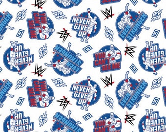 ON SALE!! WWE - John Cena You Can't See Me Fabric - White - By Springs Creative (Priced by the half yard and cut continuously)